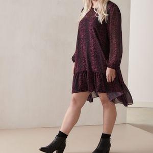 🆕 addition elle chiffon shift dress purple snakeskin print size 1X nwt